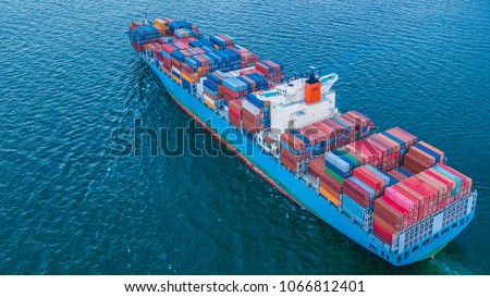 Aerial view container cargo ship import and export business, Freight transportation import export logistic. #1066812401