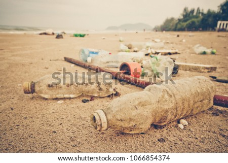 Garbage in the sea affecting marine lives / Environmental problem concept / World environment day #1066854374