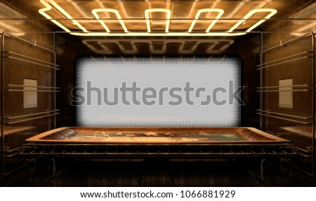 A view from inside a hot operational household oven towards a closed door with an empty tanished baking tray inside - 3D render #1066881929