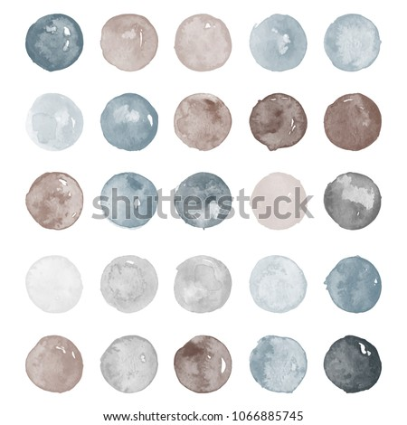 Set of watercolor shapes. Watercolors blobs. Set of deep brown, grey watercolor hand painted circles isolated on white. Illustration for artistic design. Round stains, blobs of different colors