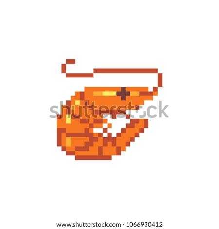 Shrimp pixel art  icon. Isolated vector illustration. 8-bit sprite. Design stickers, logo, mobile app.