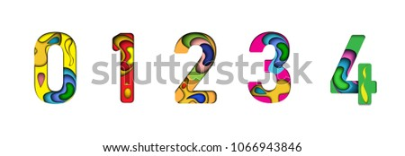 Paper cut letter 0,1,2,3,4. 3D muti layers paper cut style isolated on white background.Colorful character of alphabet letter font.Decorate,origami,vector,illustrator #1066943846