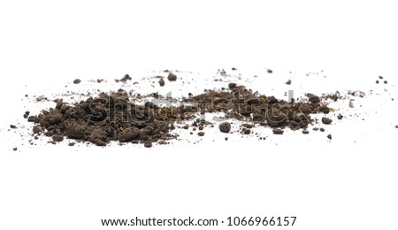 Dirt, soil pile isolated on white background Royalty-Free Stock Photo #1066966157