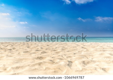Empty tropical beach background. Horizon with sky and white sand - boost up color process #1066969787