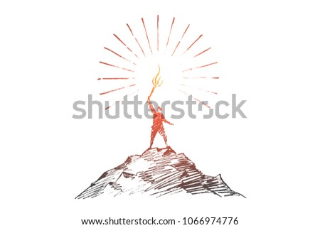 Vector hand drawn I can do it concept sketch. Man standing on top of mountain and holding shining  torch on raised hand.