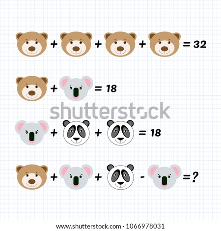 Mathematical Addition Subtraction Puzzle with Bear Panda, Koala. Math game with pictures for children, middle level, education game for kids, preschool worksheet activity, task for logical thinking.