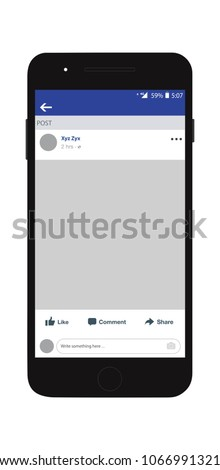 Social network profile on smart phone. Facebook profile on iPhone. Decorative template framework. Insert your picture. Vector illustration.