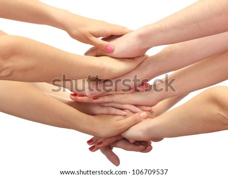 group of young people's hands isolated on white #106709537
