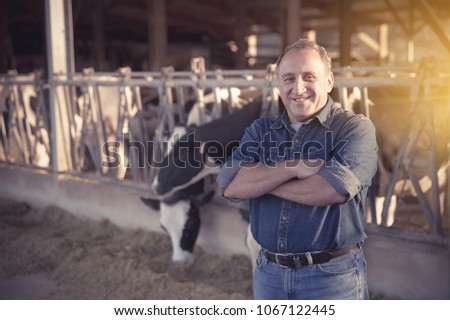 Portrait of successful mature male farmer in cowshed #1067122445