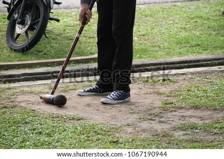 View of the mallet, ball and show how to move the ball in the woodball game #1067190944