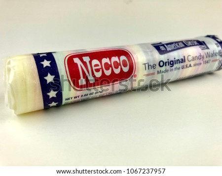 Roll of Necco wafers on a white background #1067237957