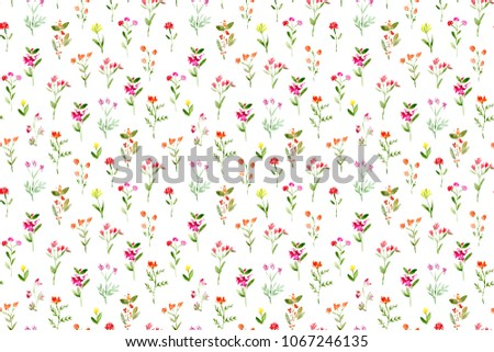 seamless pattern of hand made watercolor meadow flowers / nature design for invitation or greeting card #1067246135