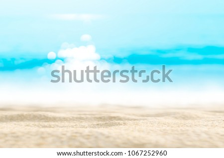 Blur tropical beach with bokeh sun light wave abstract background. Copy space of outdoor summer vacation and travel adventure concept. Vintage tone filter effect color style. #1067252960