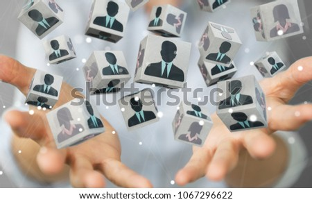 Businesswoman on blurred background choosing candidate for a job 3D rendering #1067296622