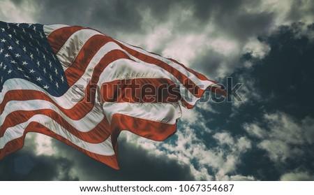 Majestic United States Flag against a dark background