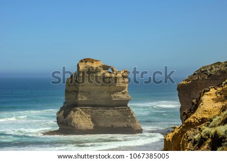 Beach in the Pacific ocean near the 12 apostles. Misty morning. #1067385005