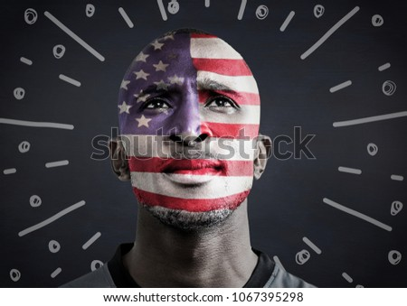 Portraiture of man with american flag face paint against navy chalkboard and white fireworks doodle