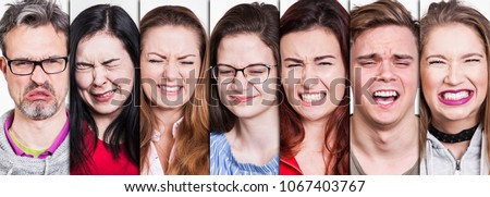 collection of young and old people portraits making an expressive facial gesture. lemons are sour so people make an ugly face if they bite into and taste them. #1067403767