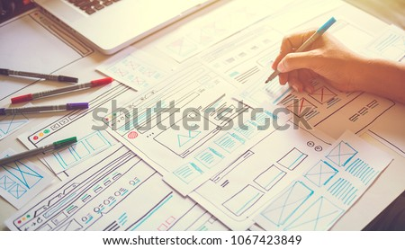 Website designer Creative planning application development  draft sketch drawing template layout framework wireframe design studio . User experience concept . #1067423849