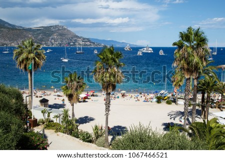 Beautiful view of the French Riviera beach. The Mediterranean coastline of the southeast corner of France. #1067466521