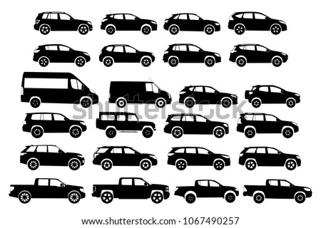 Car Type and Model Objects icons Set . Vector black illustration isolated on white background. Variants of automobile body silhouette for web. Silhouette cars on a white background Vector illustration