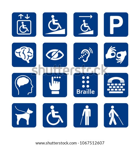 Blue square set of disability icons. Disabled icon set. Mental, physical, sensory, intellectual disability icons. #1067512607