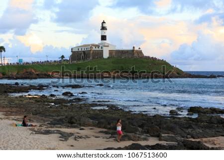 SALVADOR, BAHIA, BRAZIL - MAR 2,2018: Lighthouses Museum at Barra. The main tourist destination in town.  #1067513600