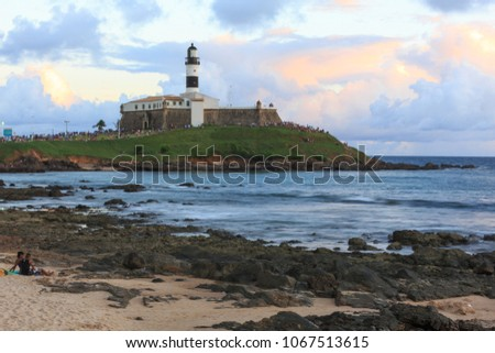 SALVADOR, BAHIA, BRAZIL - MAR 2,2018: Lighthouses Museum at Barra. The main tourist destination in town.  #1067513615