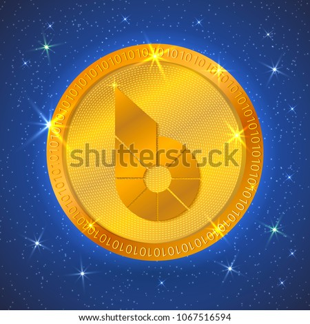 Realistic gold bitshares icon in space. Cryptocurrency.  Digital currency. Virtual money. Golden coins. Blockchain technology. Easy to use design template for your business projects. #1067516594