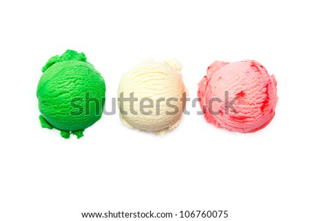 Variety of Italian icecreams with individual scoops of three different flavourings in green , pink and white lined up in a row isolated on white #106760075