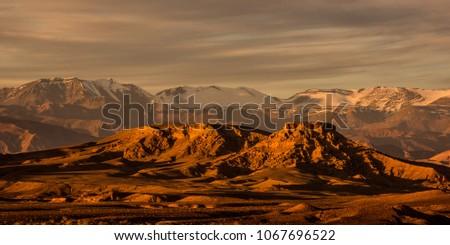 The Atlas Mountains are a mountain range in the Maghreb. It stretches around 2,500 km through Algeria, Morocco and Tunisia. The range's highest peak is Jebel Toubkal. Royalty-Free Stock Photo #1067696522