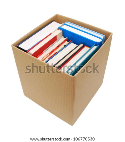 Cardboard box and books isolated on white #106770530