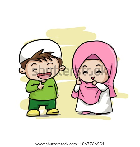 two muslim and muslimah cute kids islamic smile and happy vector illustration