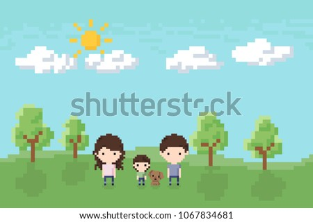 Family, Dad, Mom and Son with a dog in the park Icon, Pixel 8 bit style