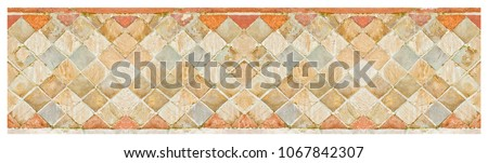Italian medieval brick and stone wall in Latin called -opus incertum- with stones and bricks - seamless pattern #1067842307
