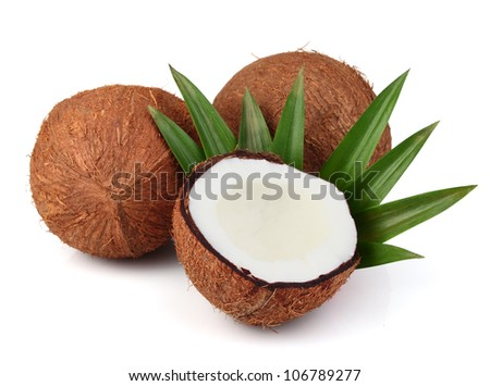 Sweet coconut with leaf #106789277