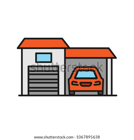 Garage color icon. Auto workshop. Isolated raster illustration