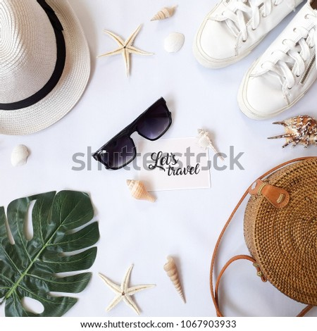 Flat Lay Travel Wallpaper (White Background) #1067903933
