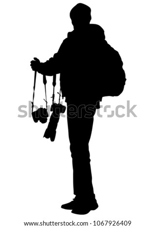 Man with a camera on white background #1067926409