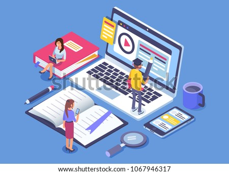 Online education concept banner with characters. Can use for web banner, infographics, hero images. Flat isometric vector illustration isolated on white background. Royalty-Free Stock Photo #1067946317