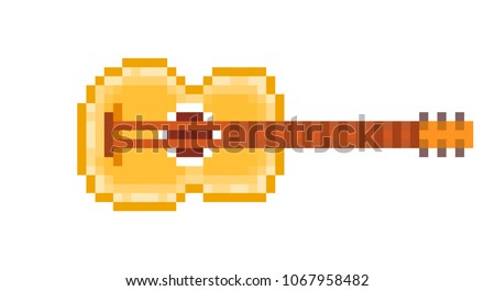 Yellow wood six string acoustic guitar, pixel art icon isolated on white background. Music store logo. Folk festival sign. Old school 8 bit slot machine pictogram. Retro 80s; 90s video game graphics.