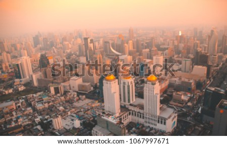 bird eye view of Bangkok city from tower with blur #1067997671