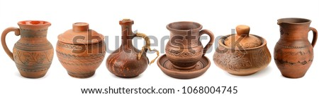 Set of old ceramic kitchen tools - retro equipment of cooking isolated on white background. Panoramic collage. Wide photo . #1068004745
