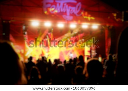 Blurred music concert festival. Concept of interior for event. #1068039896