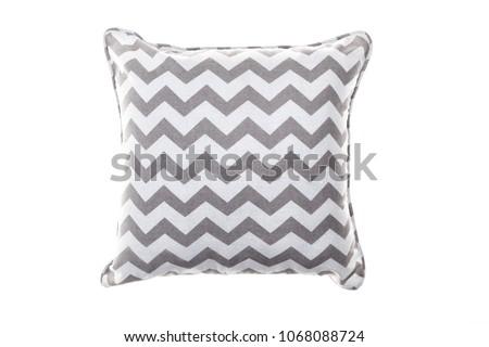 Art Nouveau throw pillow. Cushion cloth gray chevron