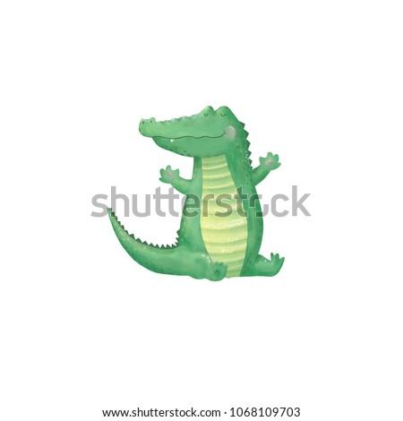 crocodile digital clip art cute animal