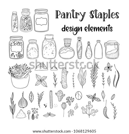 Illustration of a pantry staple objects.  Cute lovely doodle drawings of spices and herbs.  #1068129605