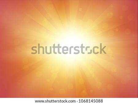 Orange Background with Sunshine and Flash with Rays. Abstract Vector Illustration in A4 Size. #1068145088