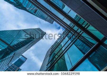 low angle view of skyscrapers in city of China #1068229598