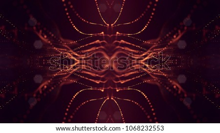 science fiction background of glowing particles with depth of field and bokeh. Particles form line and abstract surface grid. 3d rendering V66 red gold #1068232553